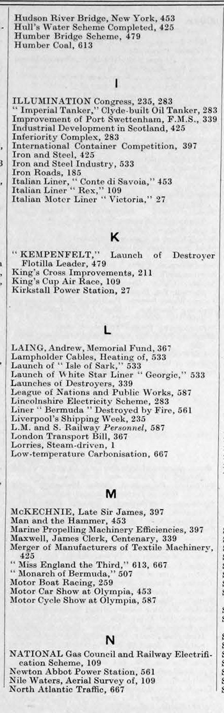 The Engineer 1931 Jul Dec Index