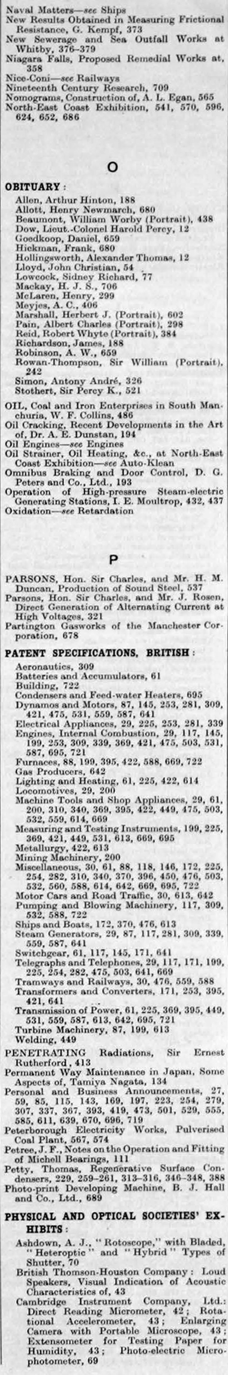 The Engineer 1929 Jan-Jun: Index - Graces Guide