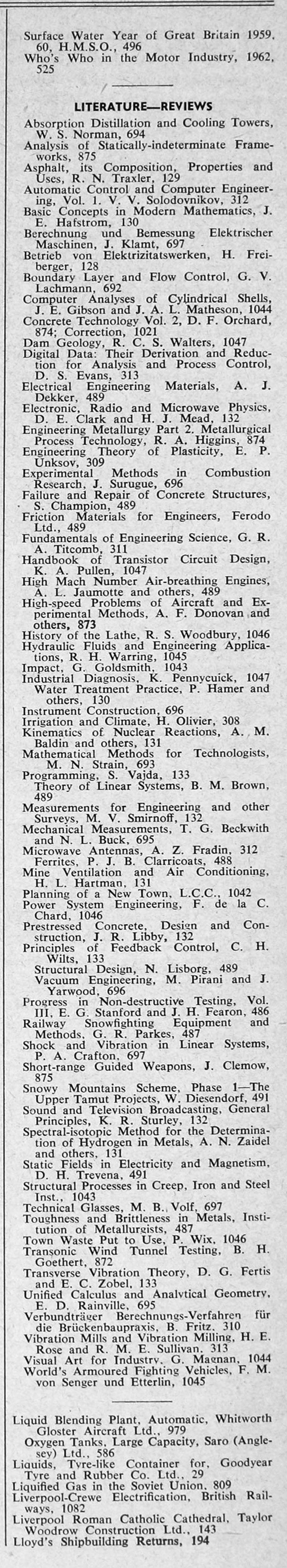 The Engineer 1962 Jan-Jun: Index: Sections 2 and 3