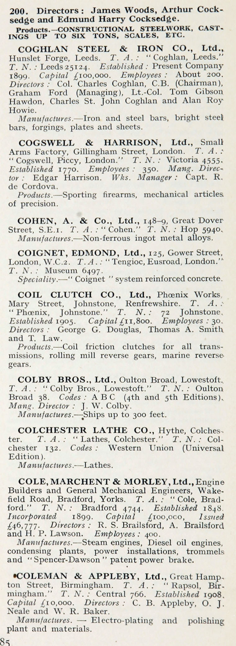 1922 Who S Who In Engineering Company C Graces Guide