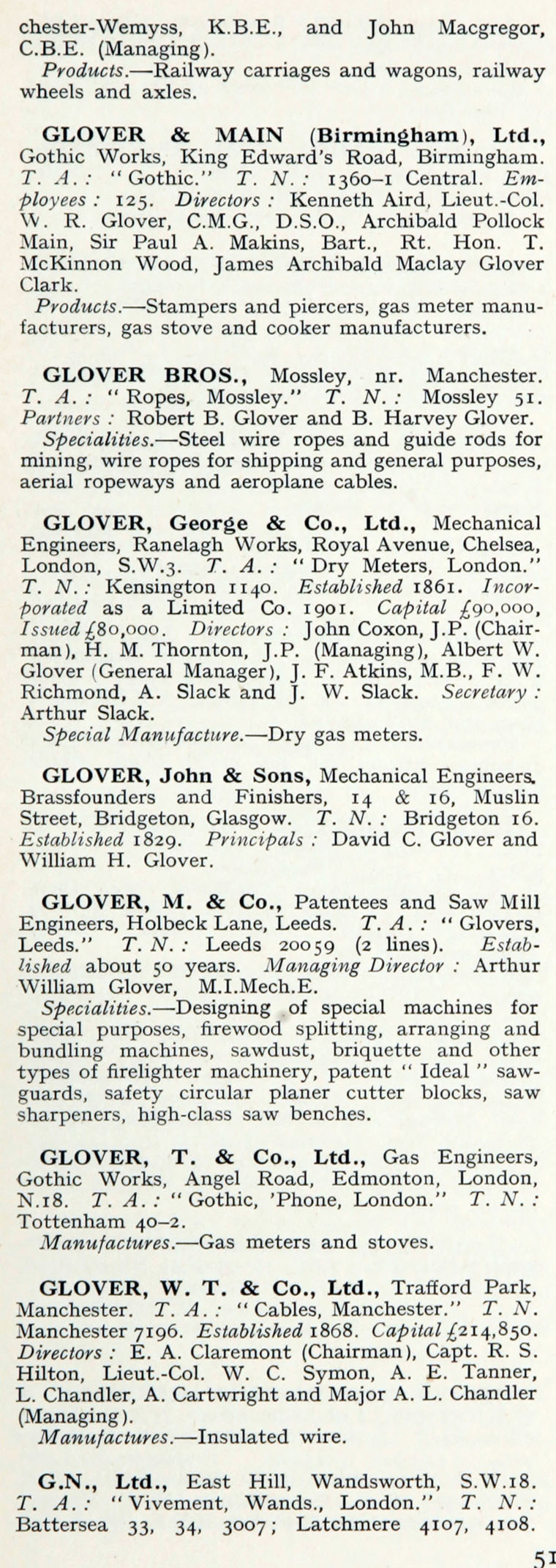 1922 Who\'s Who In Engineering: Company G