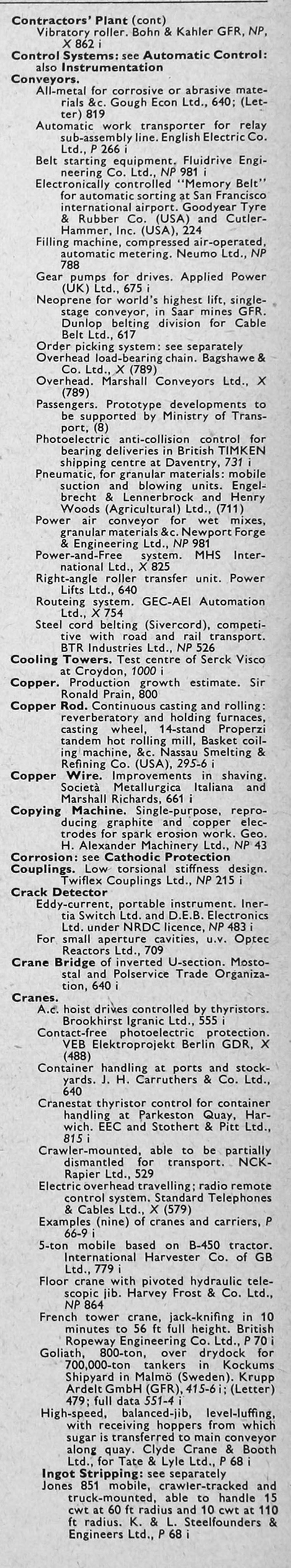The Engineer 1968 Jan-Jun: Index