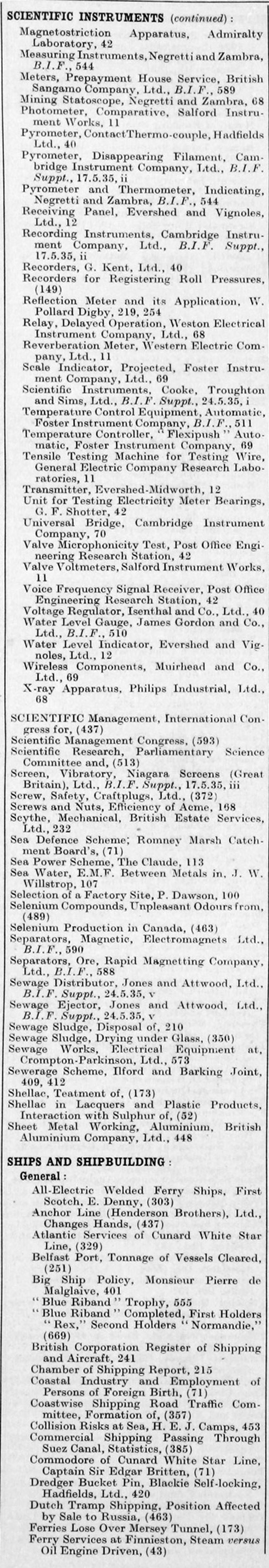 The Engineer 1935 Jan Jun Index