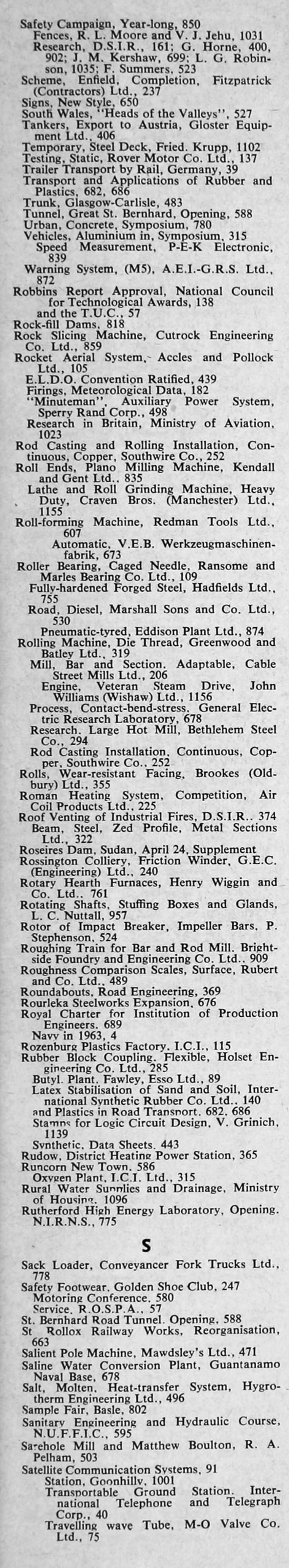 The Engineer 1964 Jan-Jun: Index: Sections 2 and 3