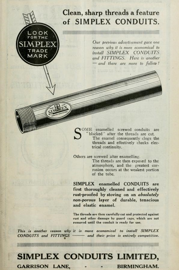 Simplex Steel Conduit Co Ltd; Electrical Continuity Old Engineering Advert 1904
