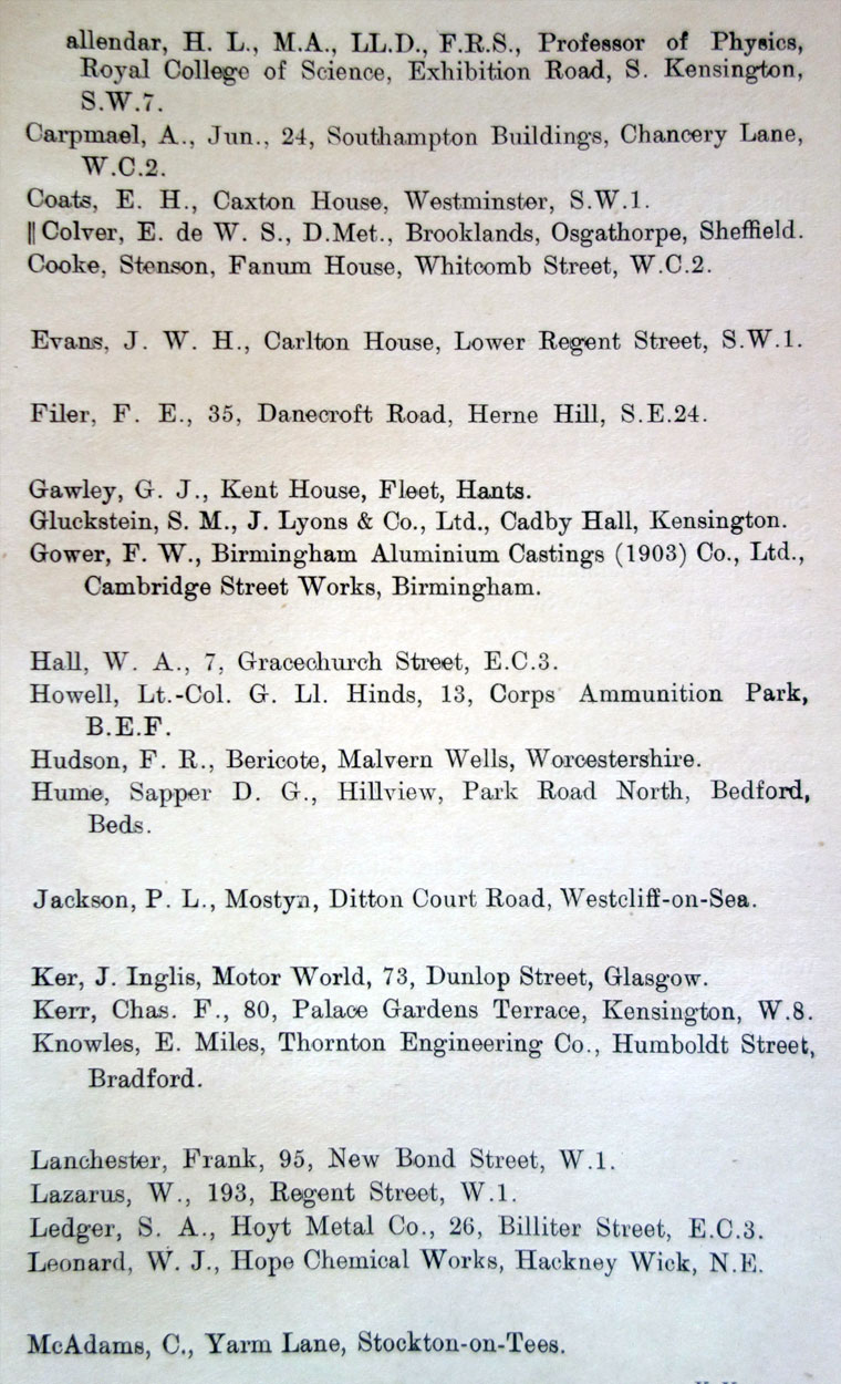 1916 17 Institution Of Automobile Engineers Members