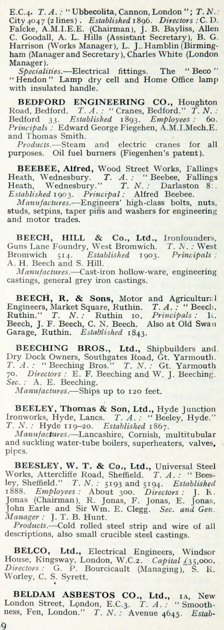 1922 Who\'s Who In Engineering: Company B