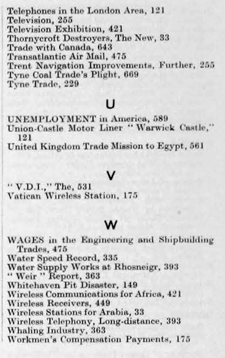 The Engineer 1931 Jan-Jun: Index - Graces Guide