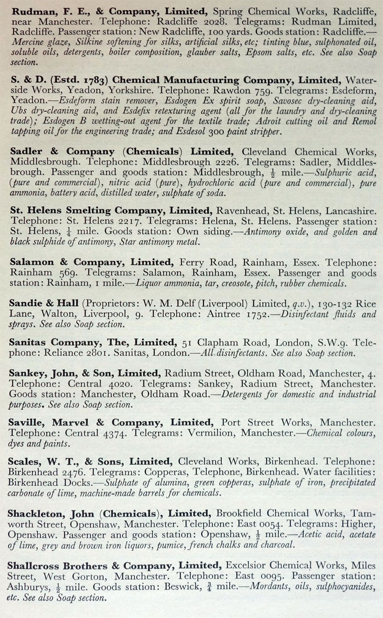 1959 Chemical Manufacturers Directory: Chemical