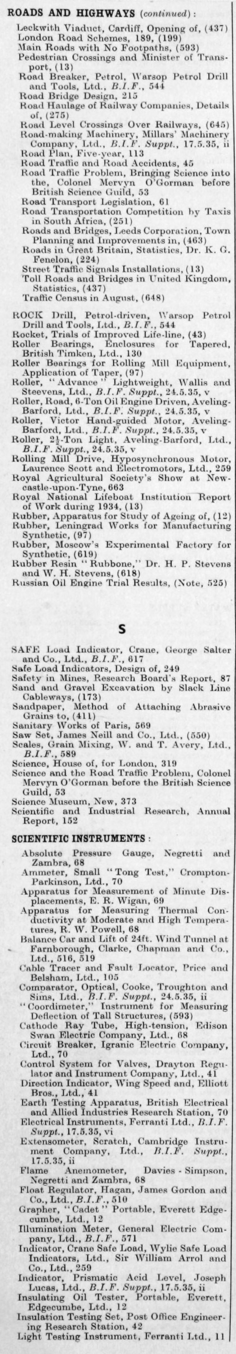 The Engineer 1935 Jan-Jun: Index