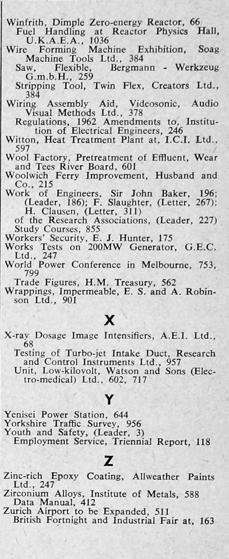 The Engineer 1962 Jul-Dec: Index: Sections 2 and 3