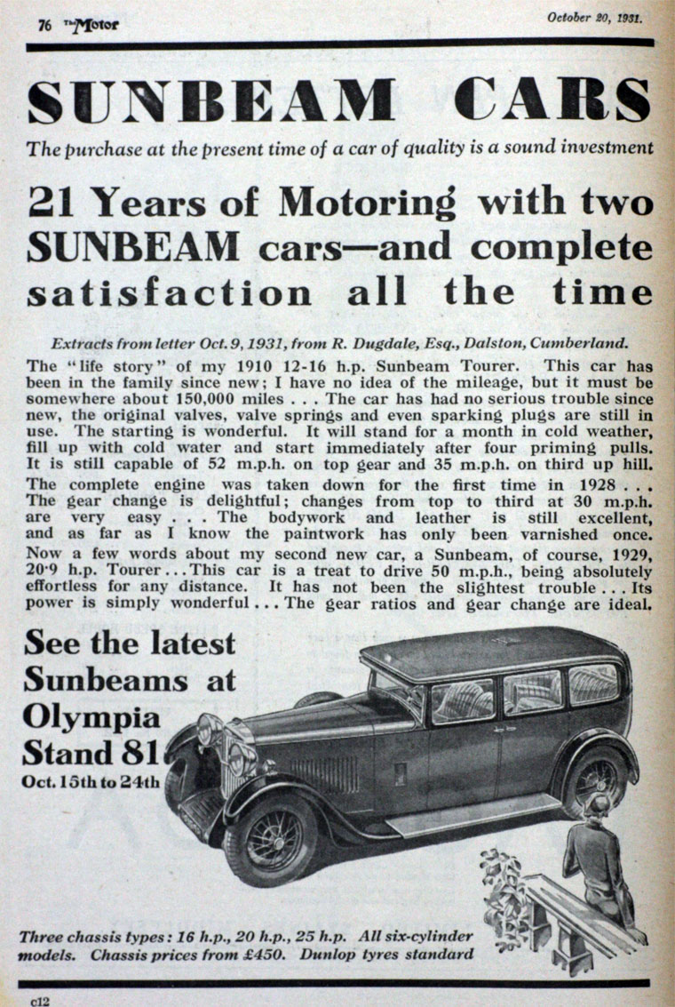All sunbeam car company models list of sunbeam car company cars - October 1931