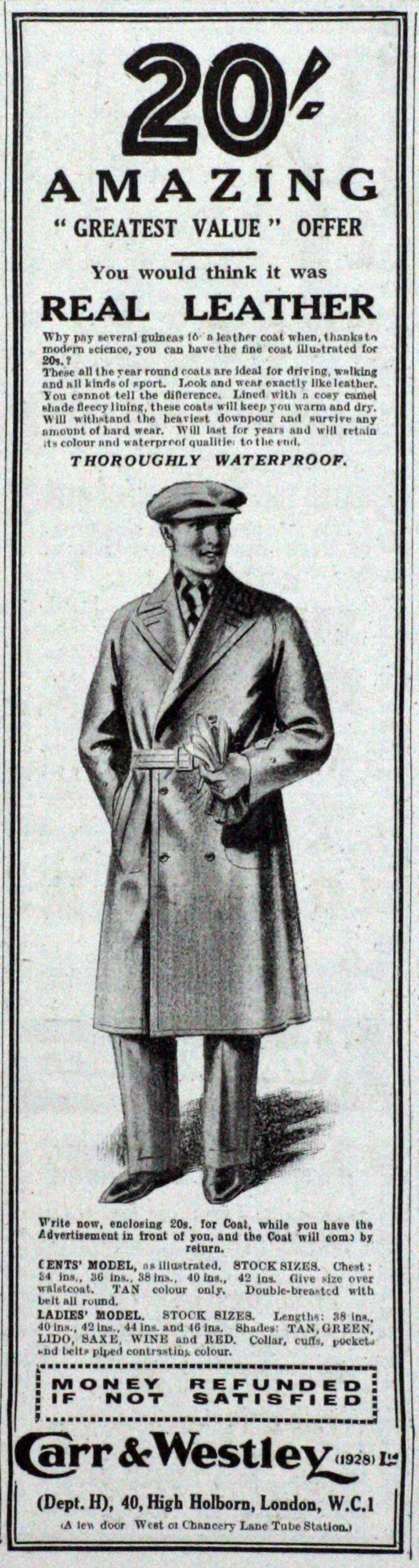 Carr and Westley 1929 advert