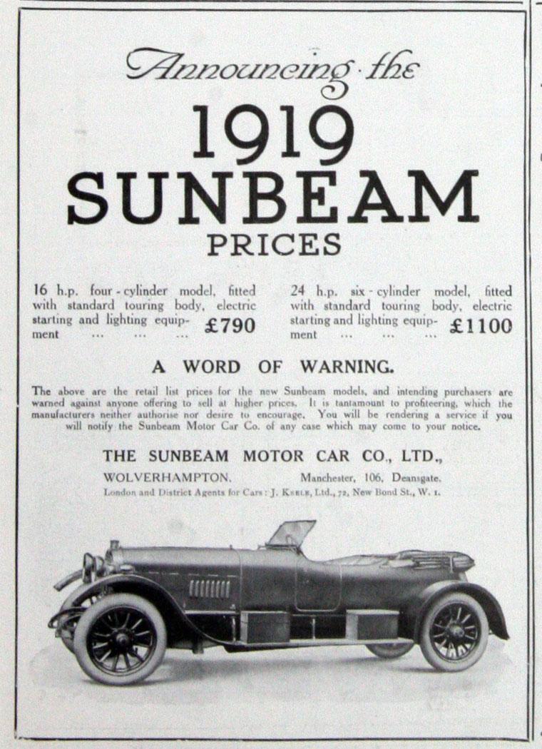 All sunbeam car company models list of sunbeam car company cars - March 1919 16 Hp And 24 Hp