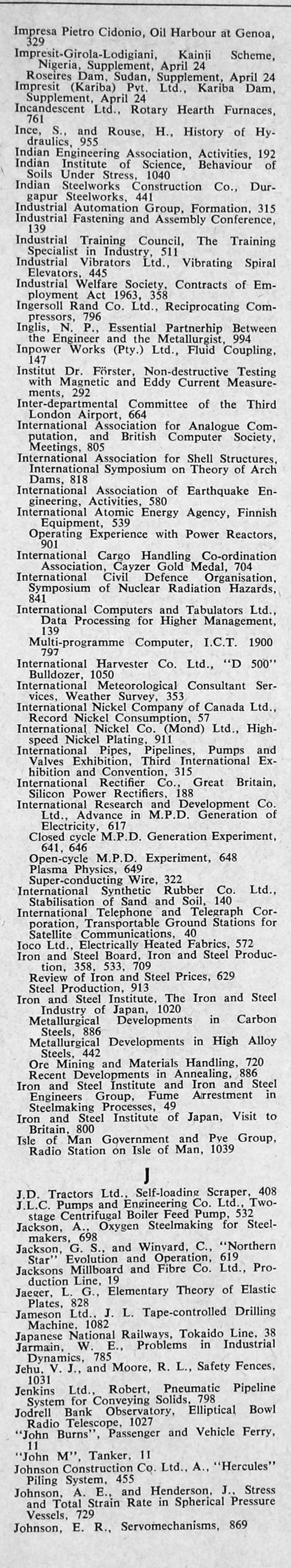 The Engineer 1964 Jan-Jun: Index