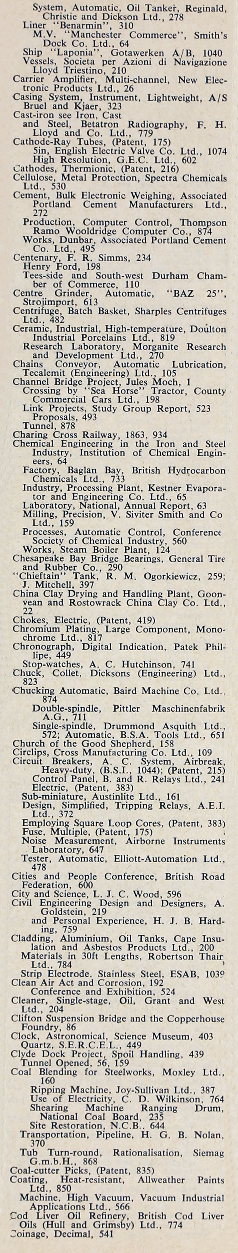 The Engineer 1963 Jul-Dec: Index: Sections 2 and 3