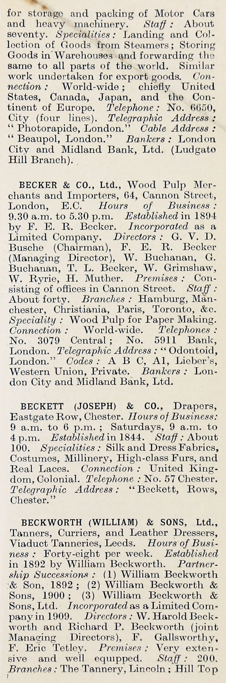 1914 Who's Who in Business: Company B Graces Guide