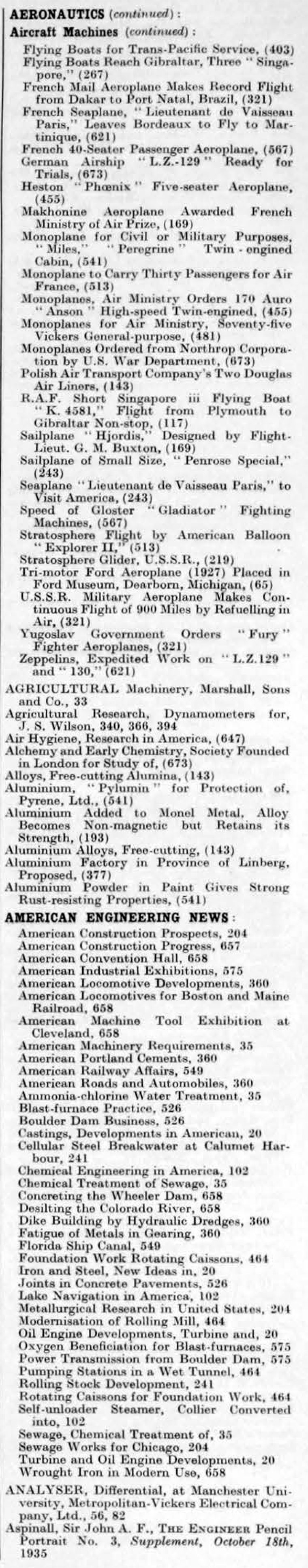 The Engineer 1935 Jul Dec Index