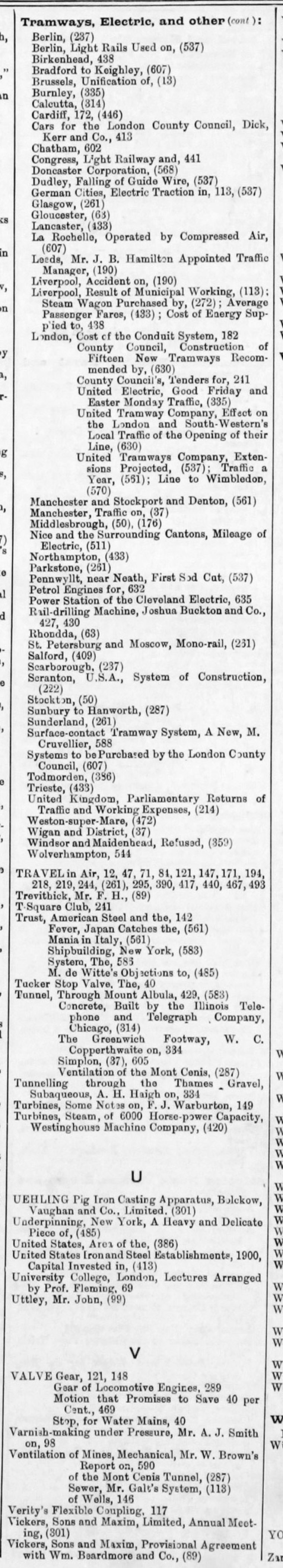 The Engineer 1902 Jan-Jun: Index: Miscellaneous - Graces Guide