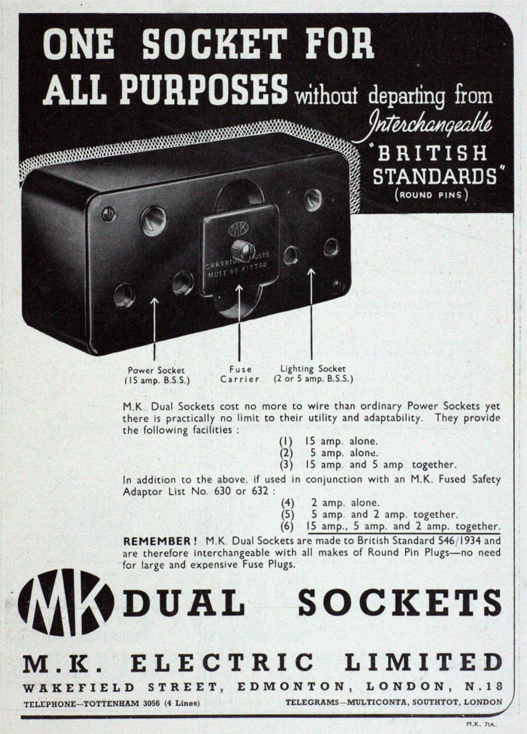 M K Electric Mk Wiring Devices Catalogue September 1937