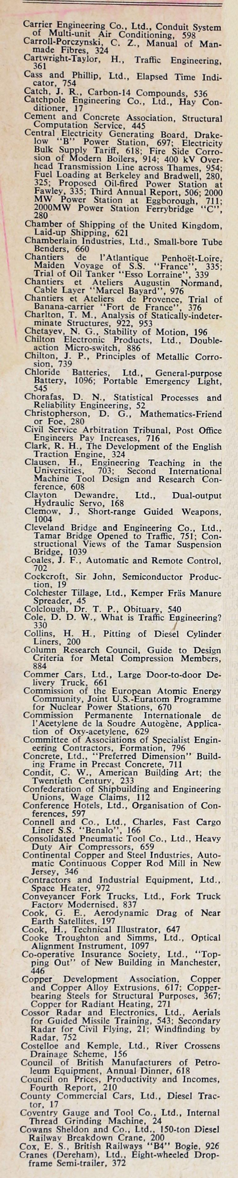 The Engineer 1961 Jul-Dec: Index