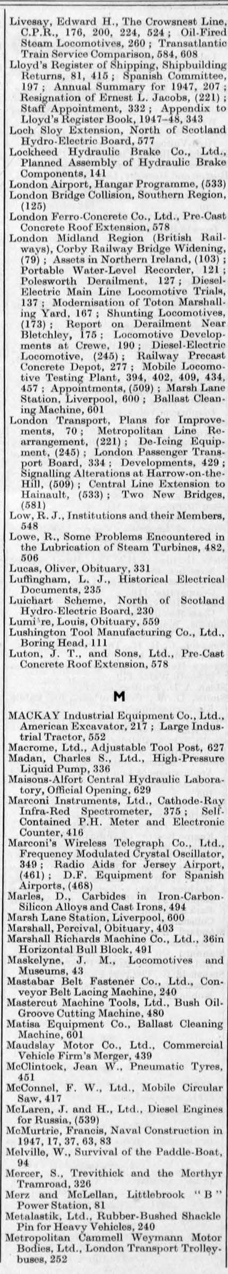 The Engineer 1948 Jan-Jun: Index - Graces Guide