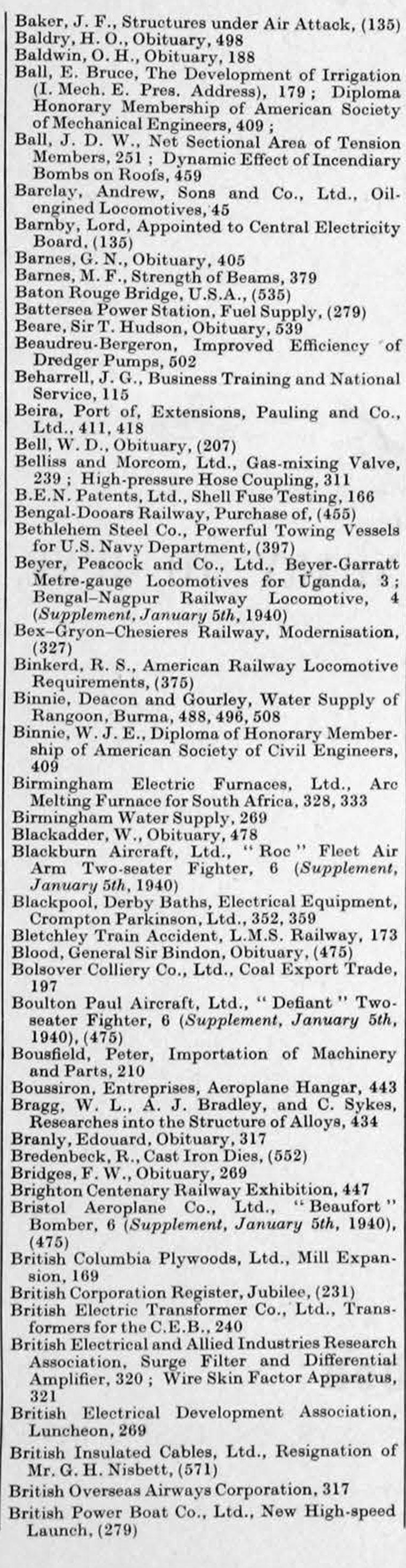The Engineer 1940 Jan Jun Index