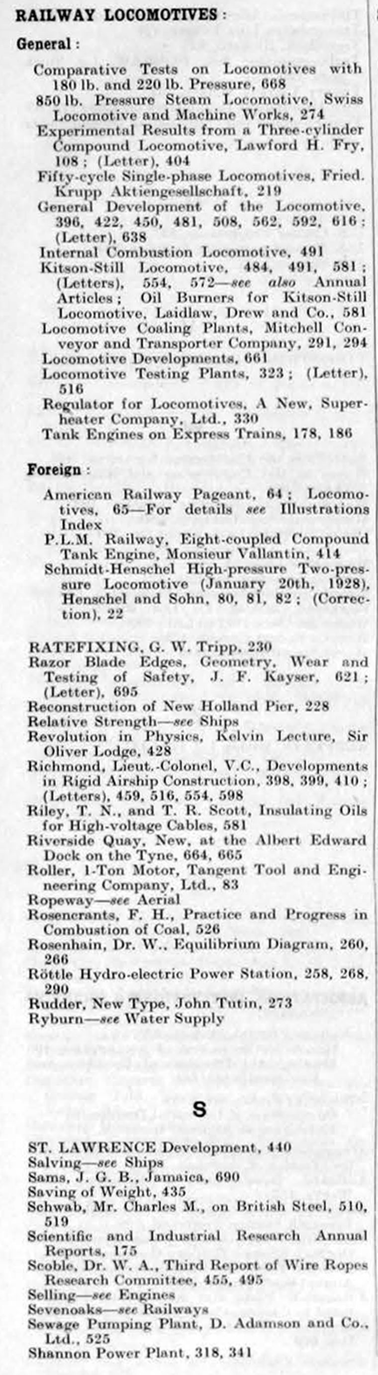 The Engineer 1928 Jan-Jun: Index
