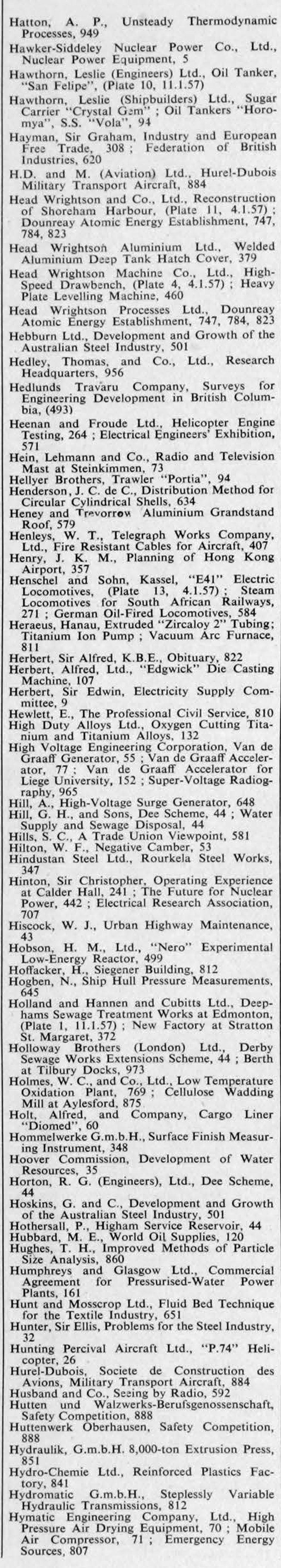 The Engineer 1957 Jan-Jun: Index