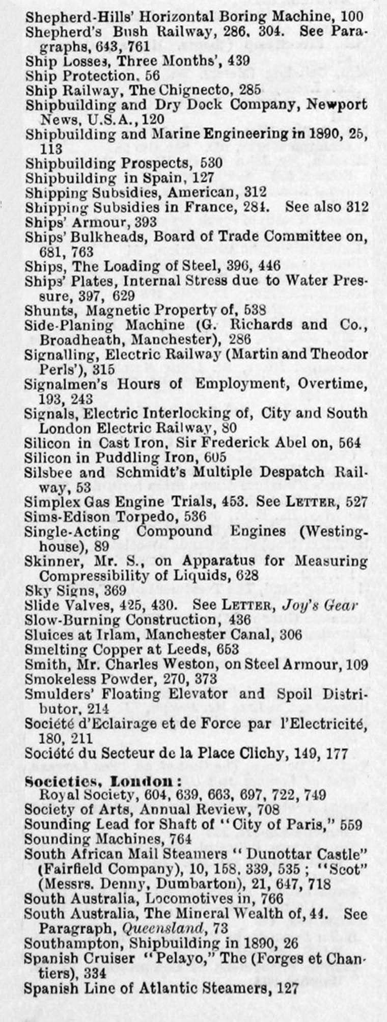 Engineering 1891 Jan-Jun: Index: General Index - Graces Guide
