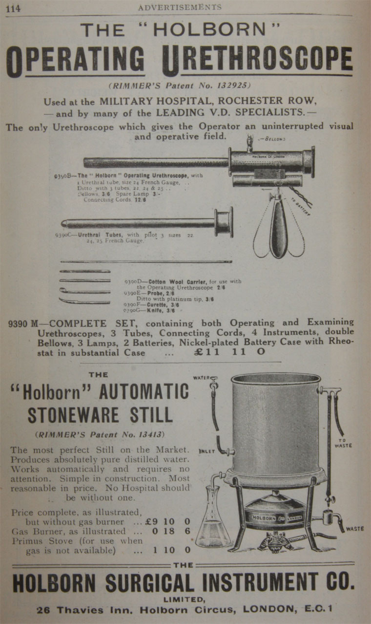 Holborn Surgical Instrument Co - Graces Guide