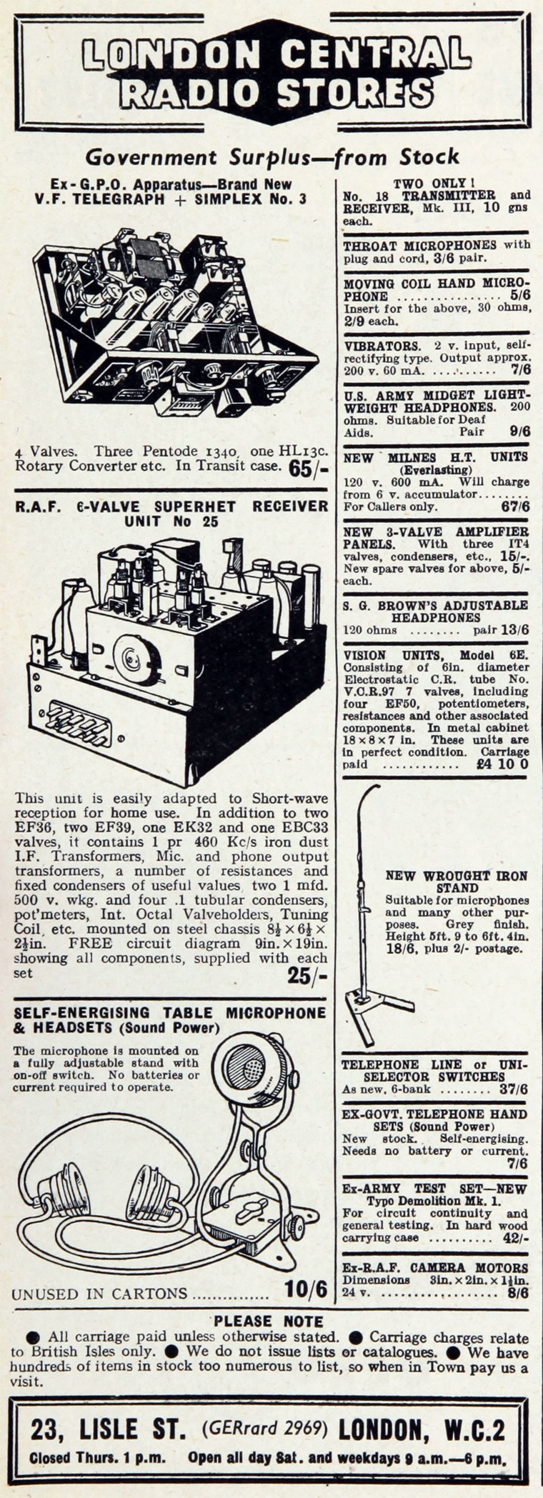 London Central Radio Stores 5 Ohm Telegraph Wiring Diagram September 1949