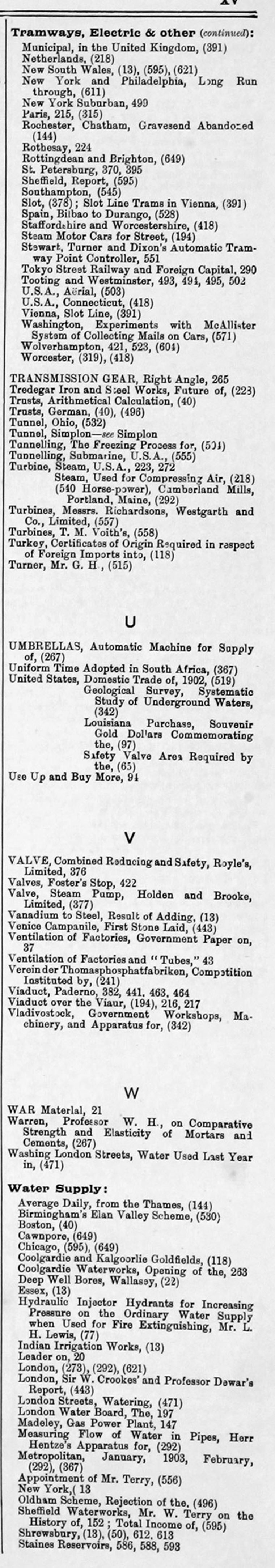 The Engineer 1903 Jan Jun: Index: Miscellaneous Graces Guide