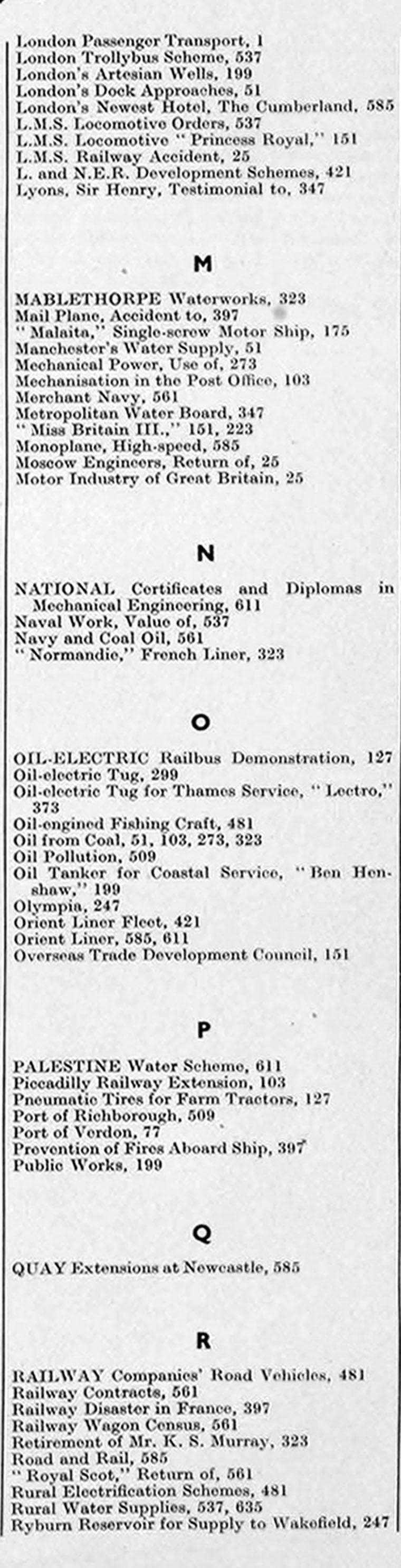 The Engineer 1933 Jul-Dec: Index