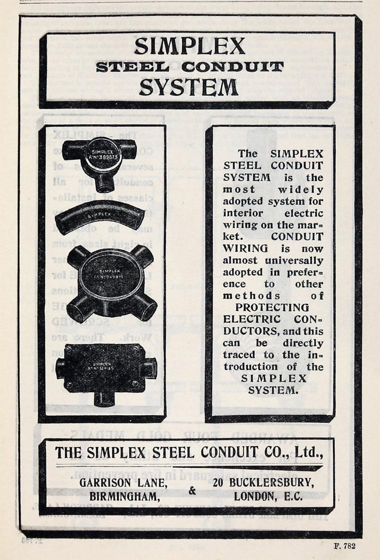 Simplex Steel Conduit Co Wiring 1905