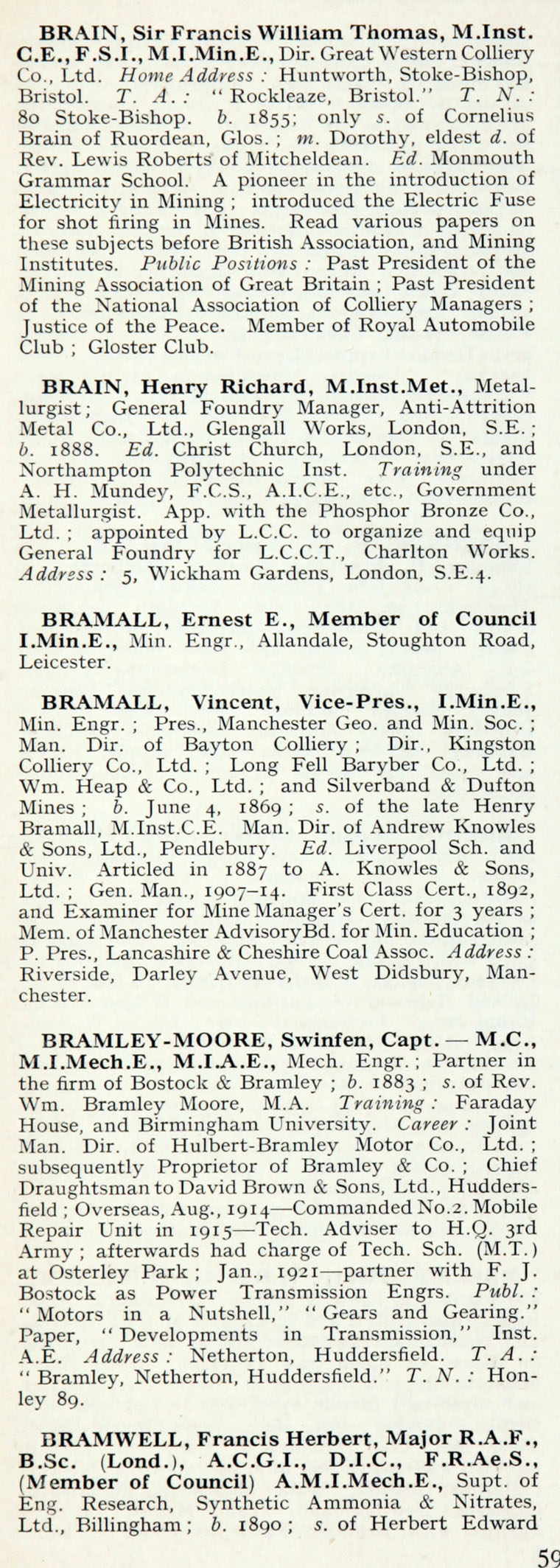 1922 Who's Who In Engineering: Name B - Graces Guide