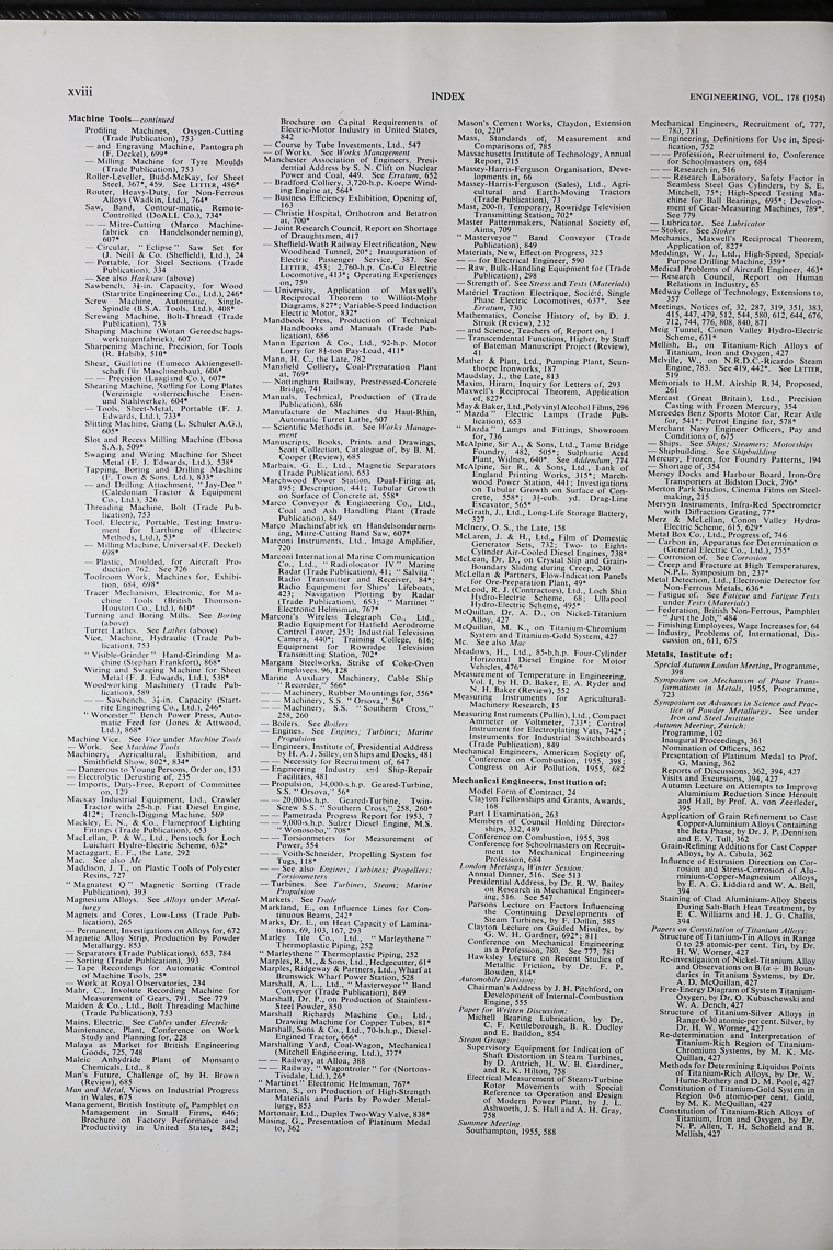 Engineering 1954 Jul-Dec: Index - Graces Guide