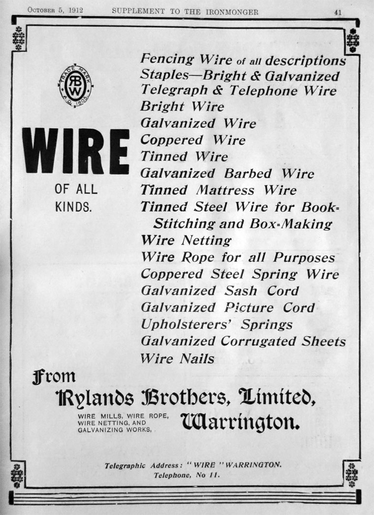 Rylands Brothers Uk Telephone Wiring 1912