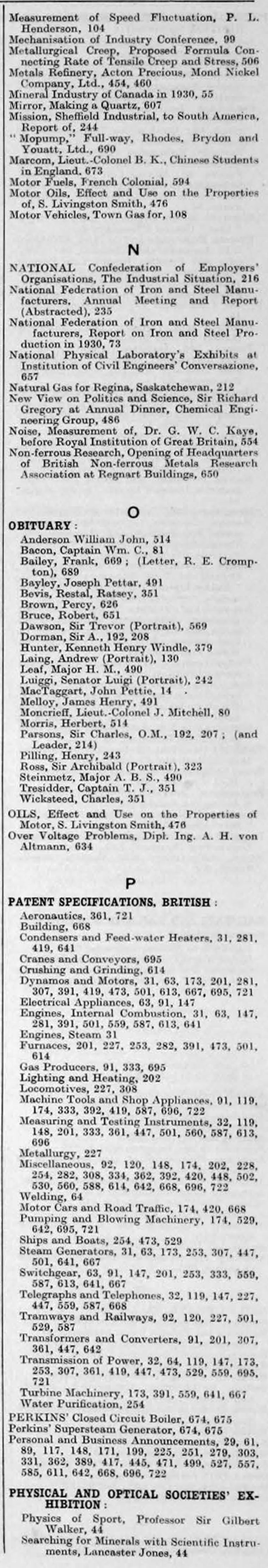 The Engineer 1931 Jan Jun Index