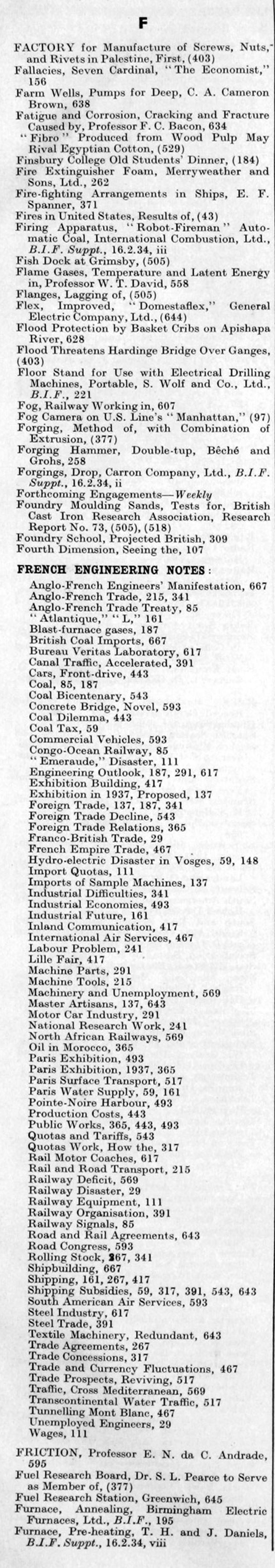 The Engineer 1934 Jan-Jun: Index - Graces Guide