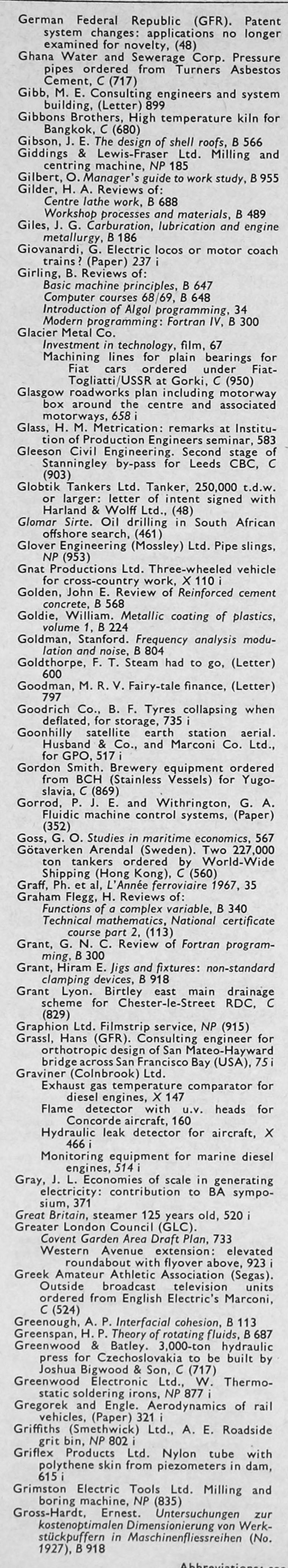 The Engineer 1968 Jul Dec Index