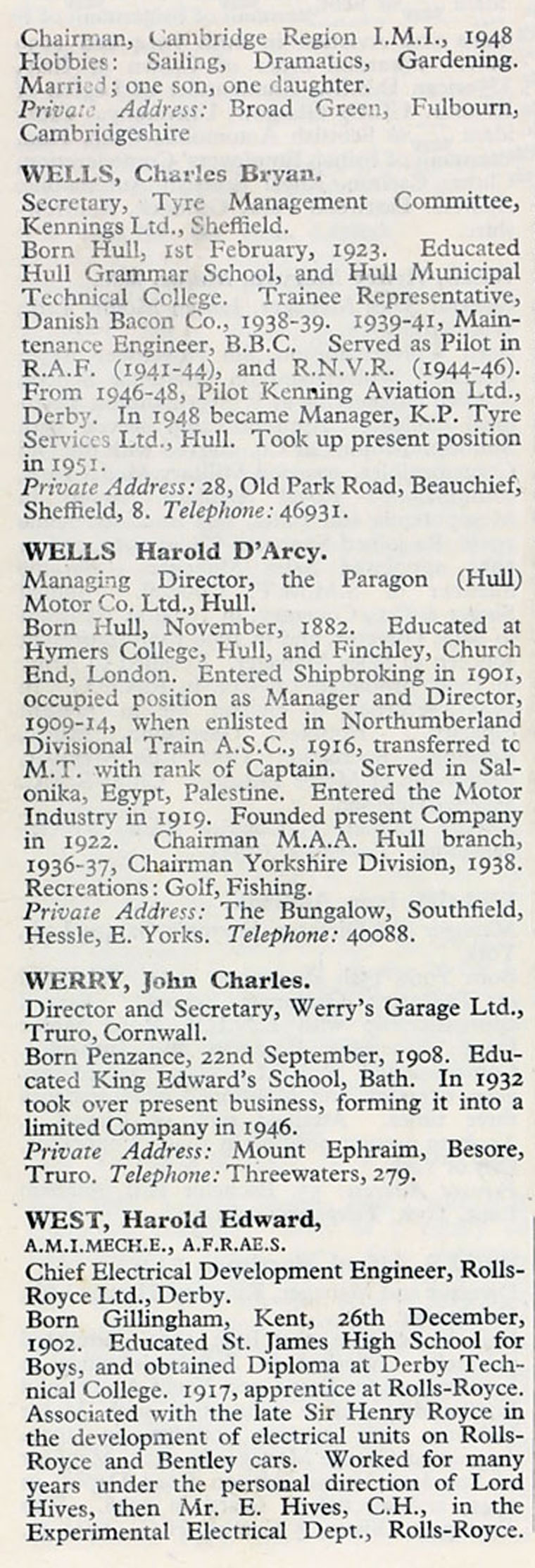 1953 Who's Who in the Motor Industry: Persons W - Graces Guide