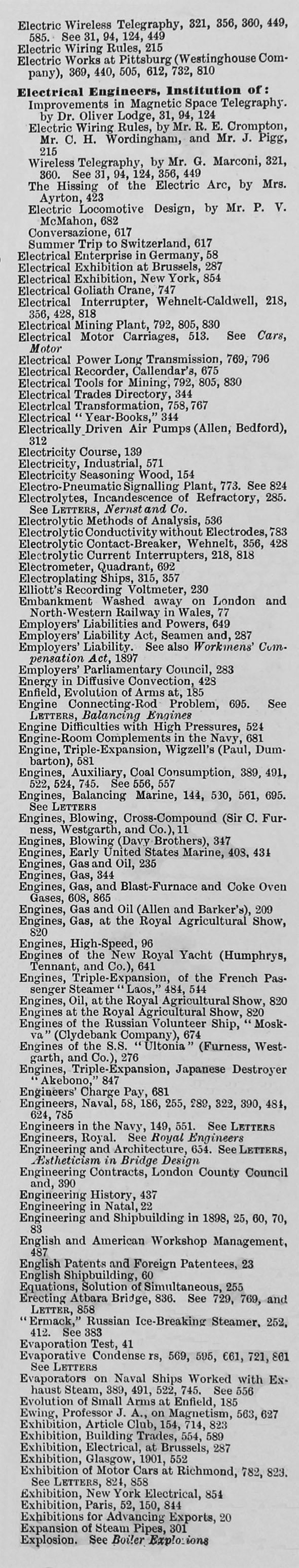 Engineering 1899 Jan Jun Index General Wiring Rules Book