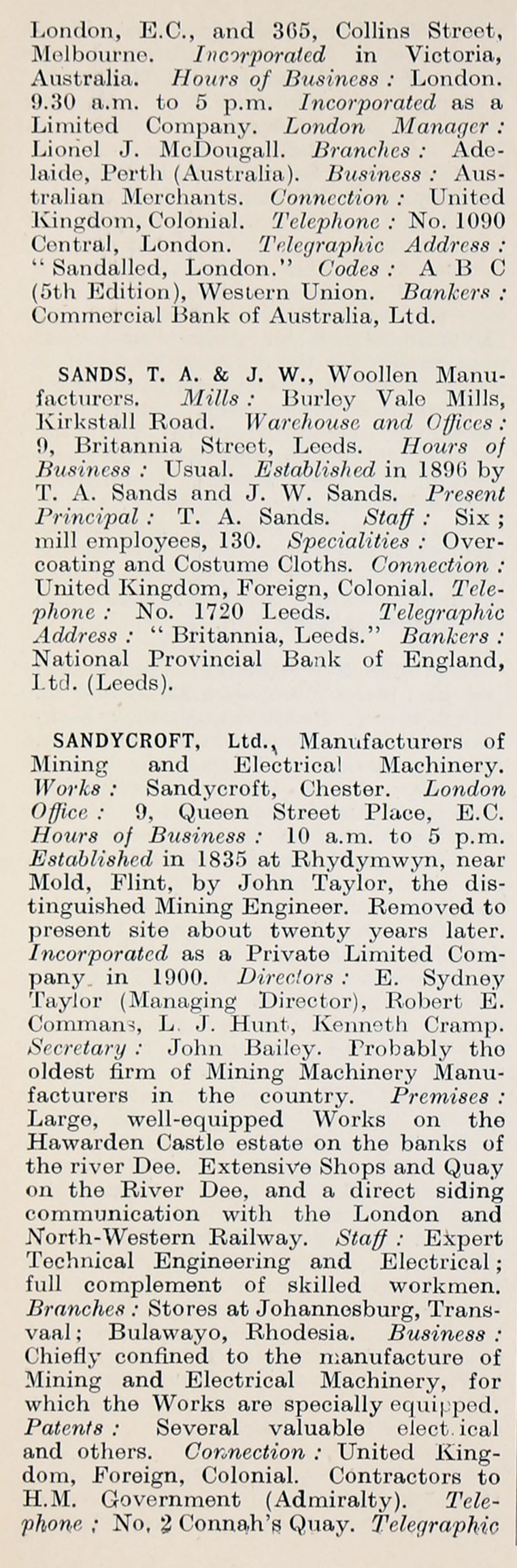 1914 Who's Who in Business: Company S - Graces Guide