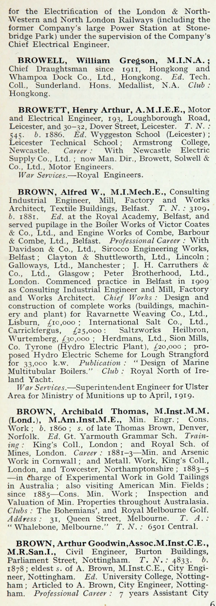 1922 Whos Who In Engineering Name B Cde Ham Rotor Wiring Diagram Im1921awwe P065a
