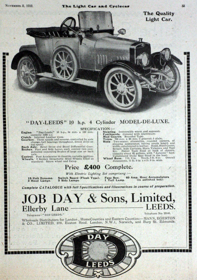 Job Day And Sons Car Fuse Box Prices November 1919