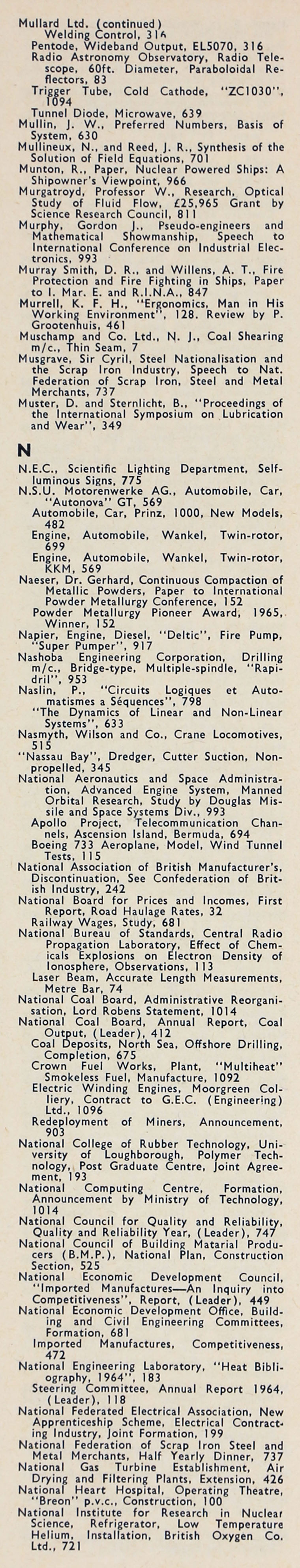 The Engineer 1965 Jul Dec Index