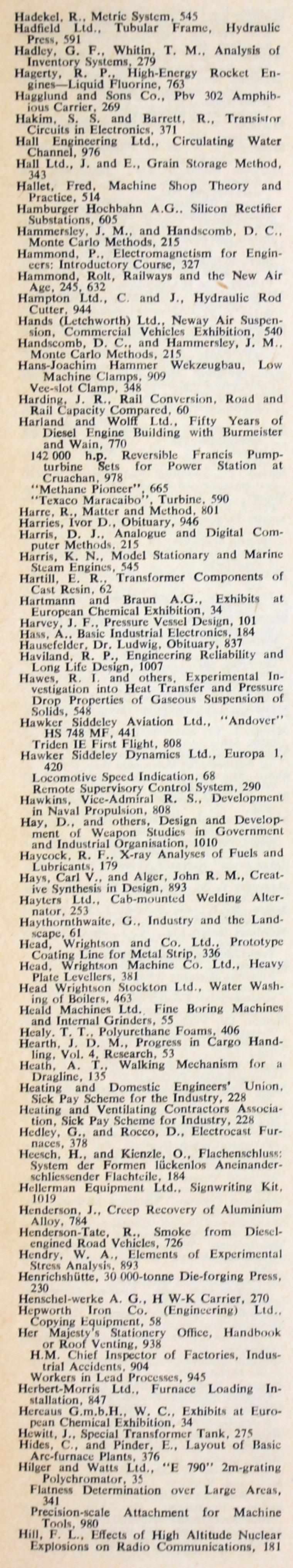 The Engineer 1964 Jul-Dec: Index