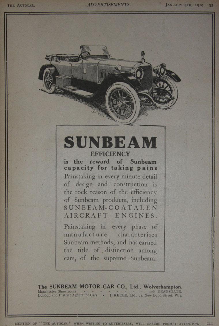All sunbeam car company models list of sunbeam car company cars - January 1919