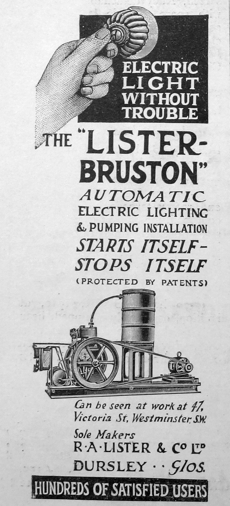 R A Lister And Co Cockshutt Wiring Diagram 1913 Automatic Electric Light Plant